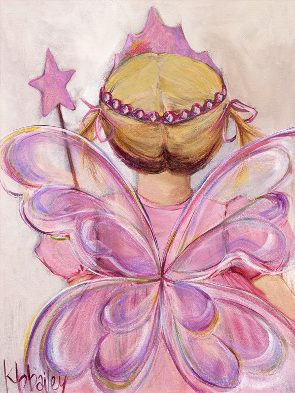 """Little Fairy Princess - Blonde"" Canvas Wall Art for Little Girls by Kristina Bass Bailey for Oopsy Daisy 10x14 $59, 18x24 $119, and 24x30 $159"