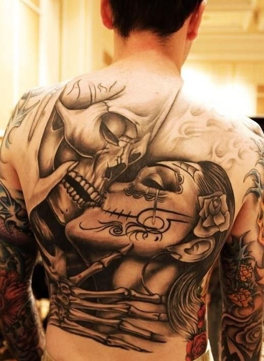 Love. Til death do us part. Skull. Skeleton. Love. Black and grey. Back piece. El dia de los muertos. gorgeous, but not for me