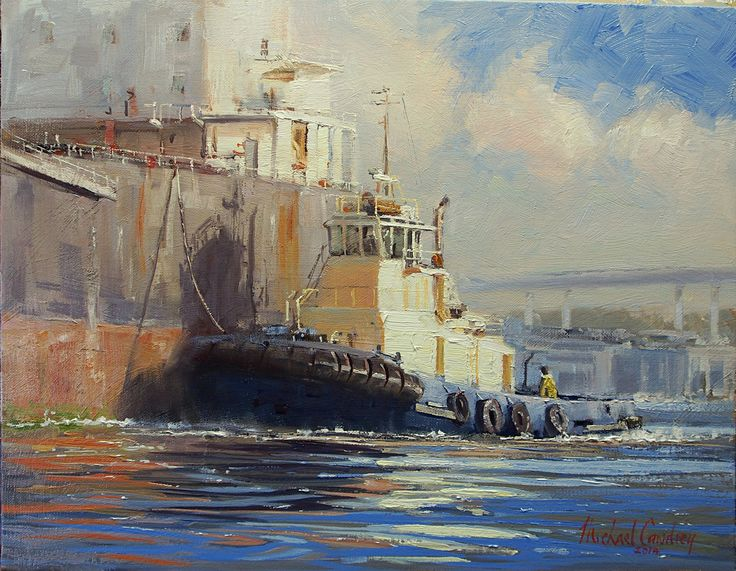 "Oil 18x14 inches by Michael Cawdrey ""The Tug 'Clontarf' On The Brisbane River"""