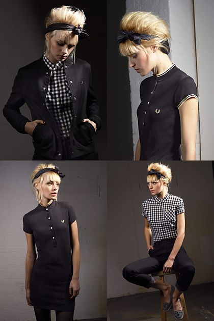 Fred Perry polo with F21 black ribbon, black skirt, hose, flats.
