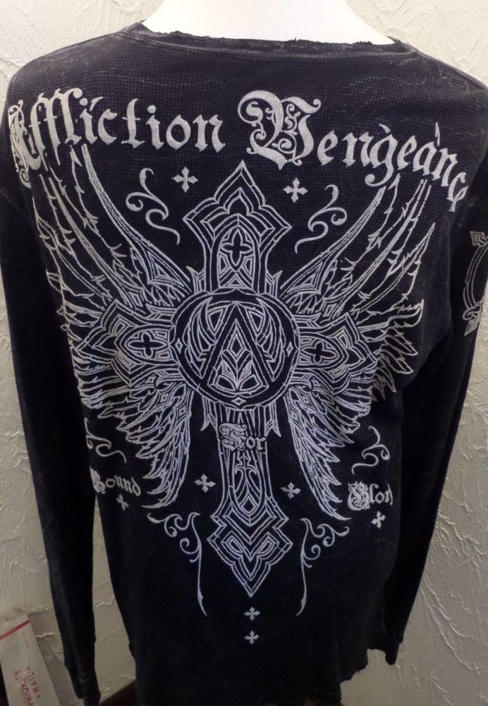 """NWOT Affliction XL """"Bound for Glory"""" Chaos Series Long Sleeve Shirt Distressed #Affliction #Henley"""