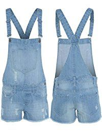 OOPS OUTLET DAMEN JEANS-LATZHOSE, OVERALL SOMMER SHORTS, 8, 10, 12, 14, 16,