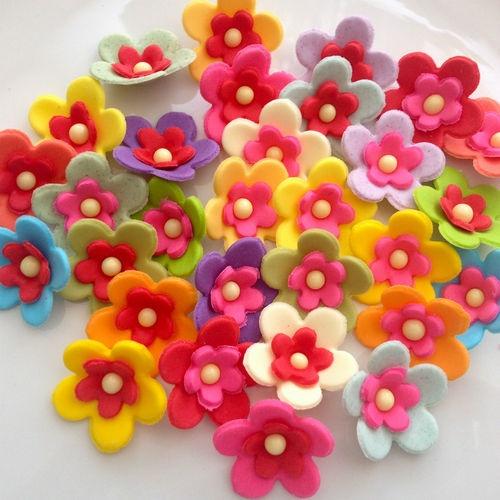 GARDEN PARTY cupcake sugar paste flowers edible cake decorations sprinkles