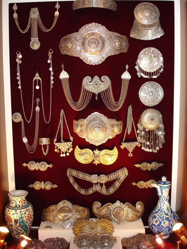 Silver jewelry from Epirus. (Κιουστέκια, clasps, τεπελίκια, braceletes, charms - amulets). FOTIS RAPAKOUSIS` MUSEUM