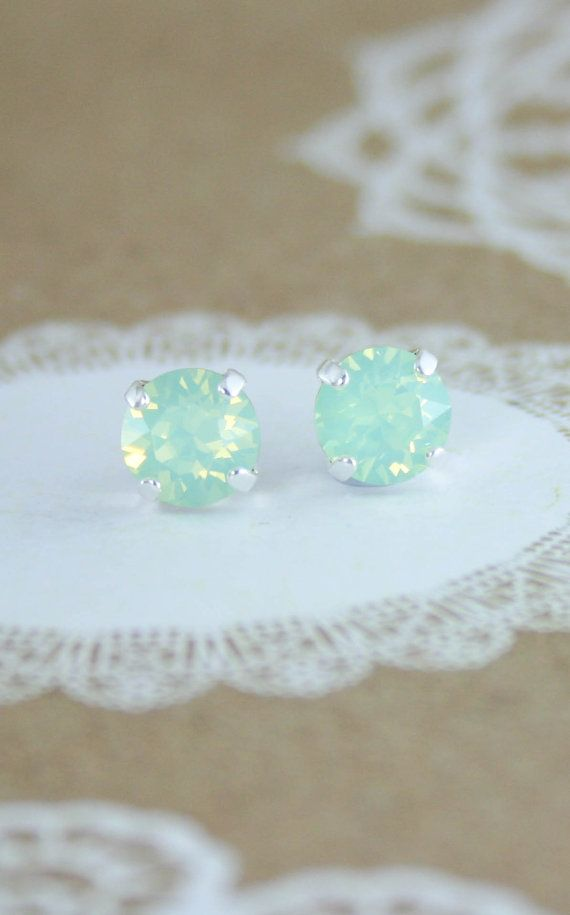 Mint earrings,mint stud earrings,stud earrings,green crystal earrings,swarovski earrings,swarovski stud earrings,mint wedding jewelry,mint Great little earring for everyday - adds just enough sparkle to brighten your day and glam up casual jeans and shirt and add some bling to your work wardrobe! Shown in Swarovski Chrysoilte opal crystal (colour) in bright silver stud setting.(style and finish) ♥ Swarovski crystals - 8mm Chrysolite opal - or other color - please choose your preference. ♥…