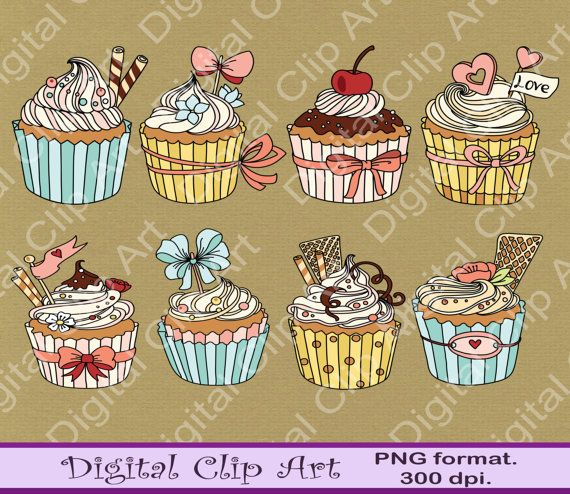 Cupcakes Clip Art Owls Clipart  Instant by digitalcliparts on Etsy