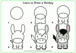 Learn to Draw a Donkey and more! so cute and easy way to draw a dog (dog/burro, potato/pothato) standing up