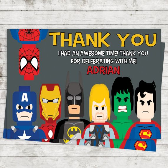 Lego Superheroes Thank You Cards Birthday Party by DCAStudio