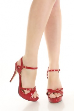 Red Faux Patent Leather Buckle Cross Strap Platform Heels