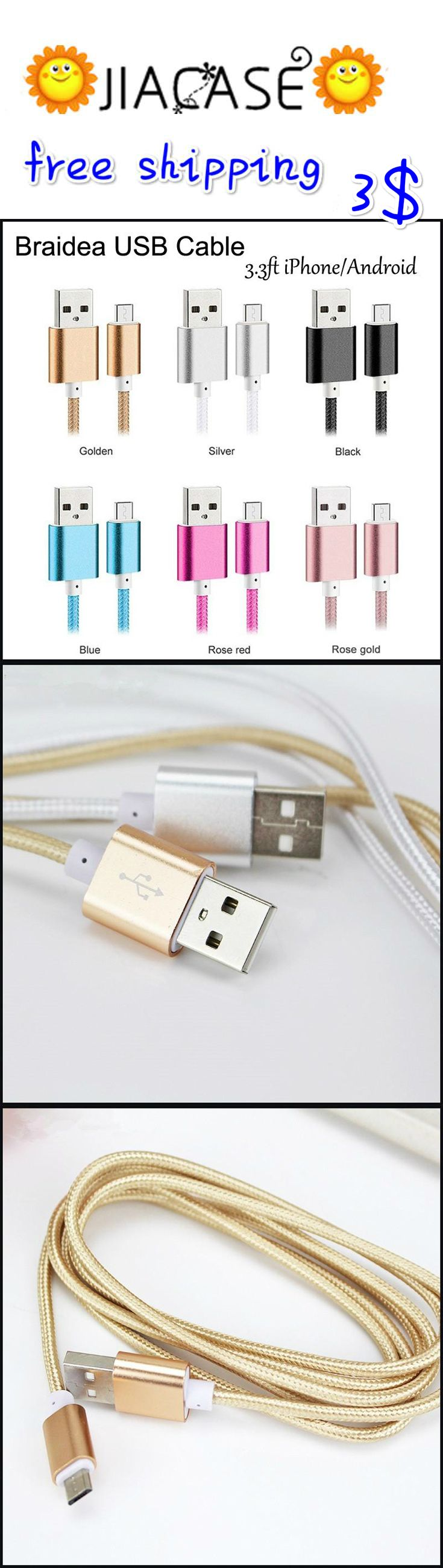 Micro #USB #Cable #Charger Data #Sync 3.3ft #Nylon #Braided #Cord for #iPhone 5 6 6S Plus 7 7Plus #Samsung #HTC MOTO #Huawei Android