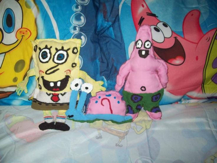 i made the characters spongebob patrick and gary from fabrics and put stuffing in - Spongebob Bedroom Set