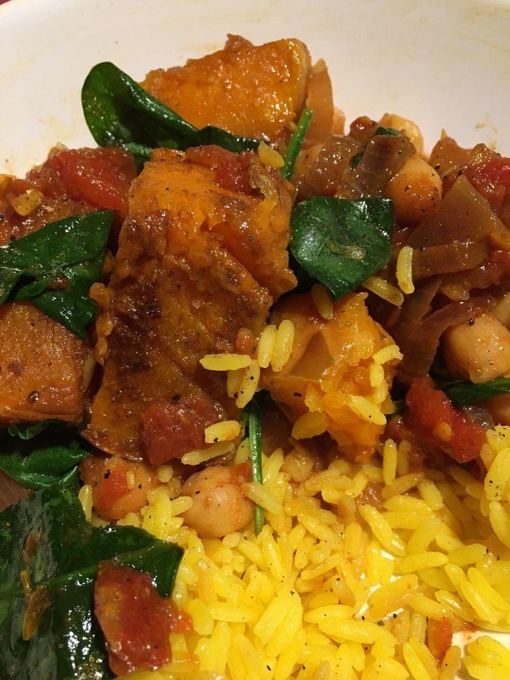 Curry végétarien courge butternut pois chiches