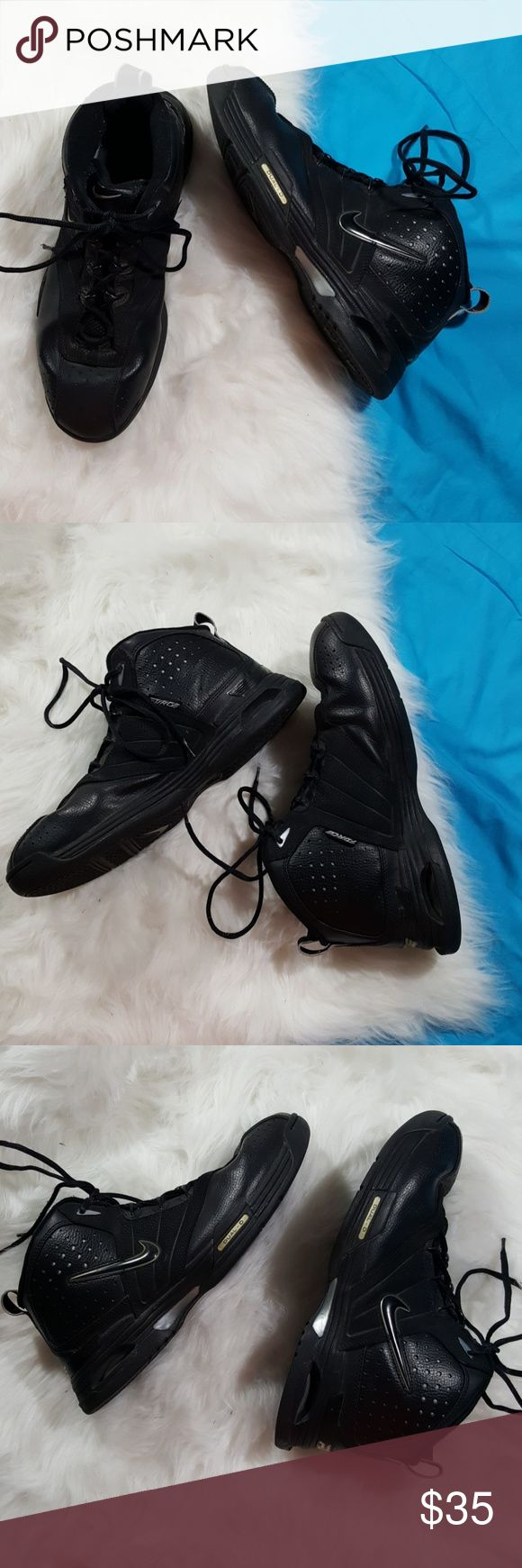 11 EUC mens high top nike AF1 Excellent used condition all black high top men's Nike Air Force Ones no rips stains or tears little crack as pictured on shoelace otherwise great condition Nike Shoes Sneakers