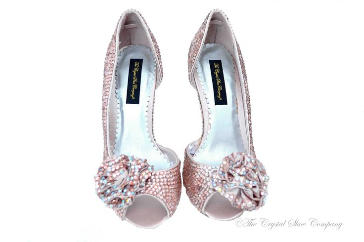 Nude peach Champagne swarovski crystal wedding bridal peeptoe Corsage high heel sandals by TheCrystalShoeCo on Etsy https://www.etsy.com/listing/122324017/nude-peach-champagne-swarovski-crystal