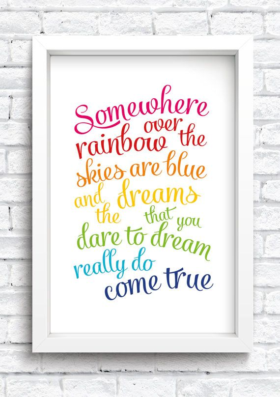 Somewhere Over The Rainbow Framed Print Keepsake. New Home Print. Mothers Day Gift. New Baby Print. Nursery Artwork. Family Artwork. Word Art. FREE POSTAGE  ***OPTION TO PERSONALISE***  The perfect gift for: Mothers Day Wedding Anniversary Valentines Day New Baby Nursery Decor Children