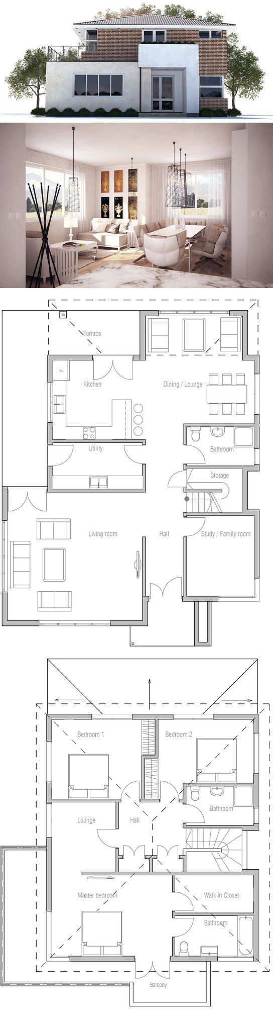 Modern House Plan with three bedrooms. large living room, separate dining area + lounge. Floor Plans from ConceptHome.com Modern Architecture