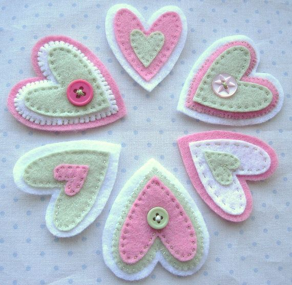Felt Embellishments-Hearts-Pink and Green Buttons