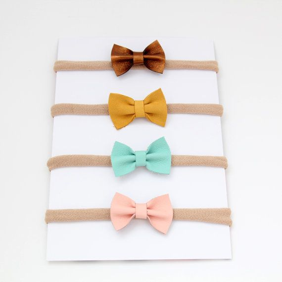 Bitsy Genuine Leather Bows on Nylon Headbands by PetalsandPeonies1