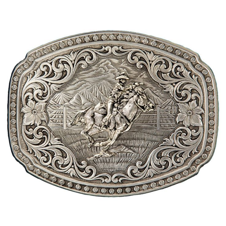 Quicksilver Corral Western Belt Buckle with Mounted Shooter (2900RTS-896L) | Montana Silversmiths