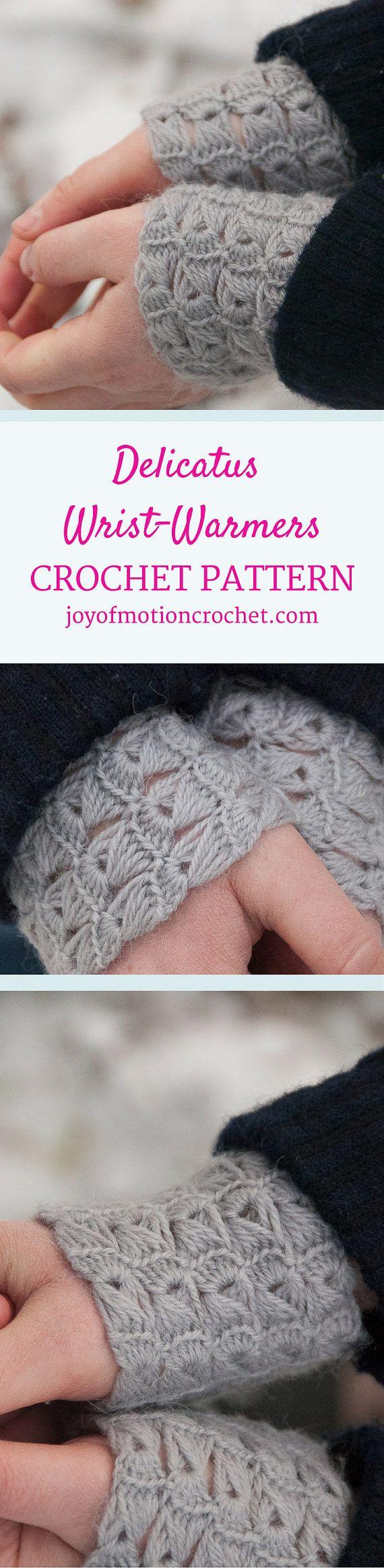 CROCHET PATTERN - Delicatus Wrist Warmers Crochet Pattern - PDF Crochet Pattern from joyofmotion on Etsy Studio