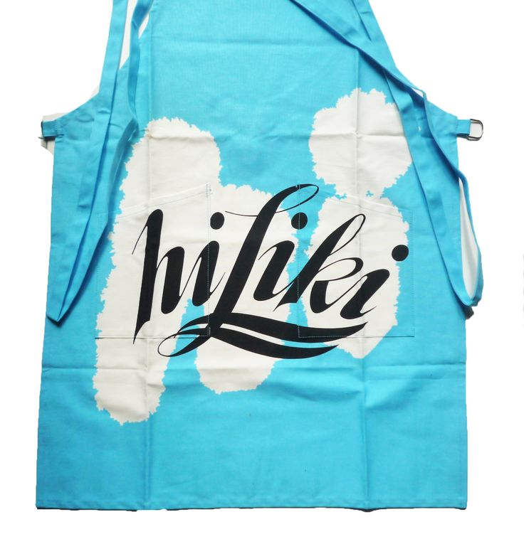 VINTAGE 1980's , Japanese Coktail  Hiliki Advertising Cotton Apron , 2 Pockets , Sky Blue and White Color, New Old Stock , Collectible , For Gift ,