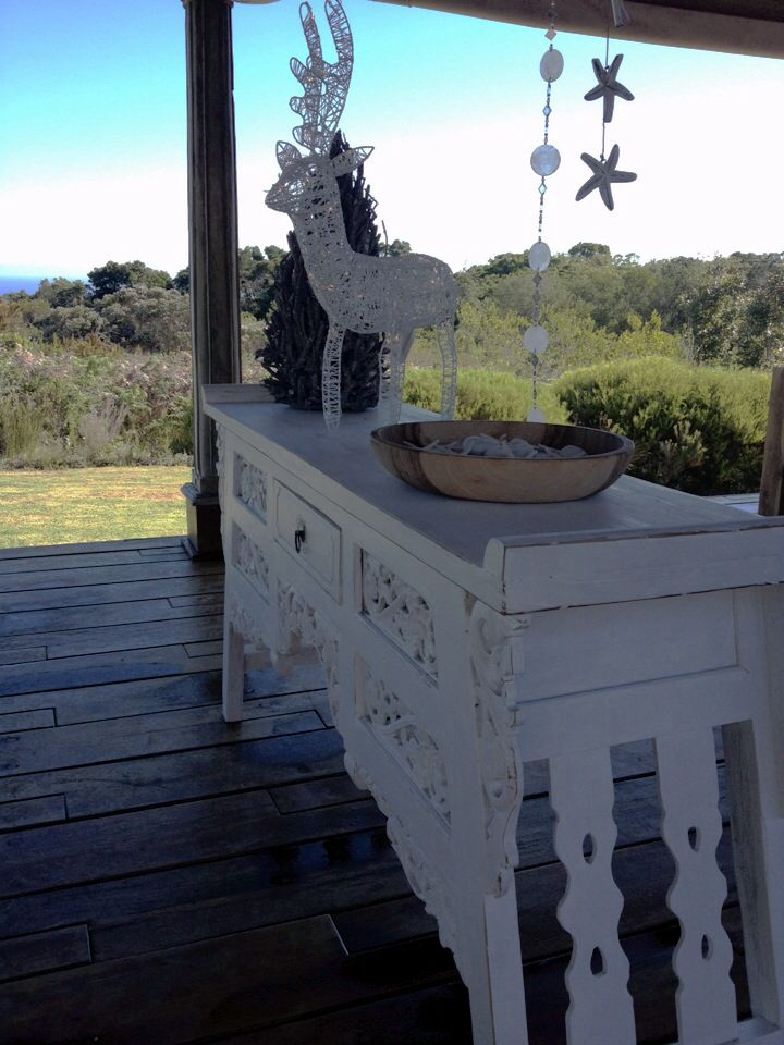 Oriental console table painted white