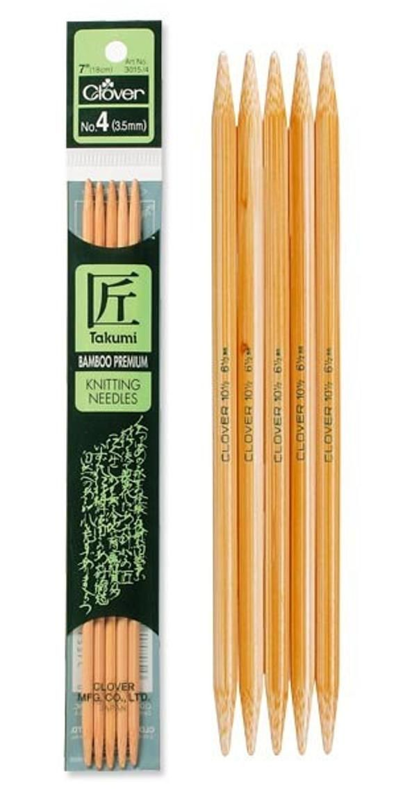 "Clover Bamboo 5/"" Double Point Knitting Needles; Choose Size"