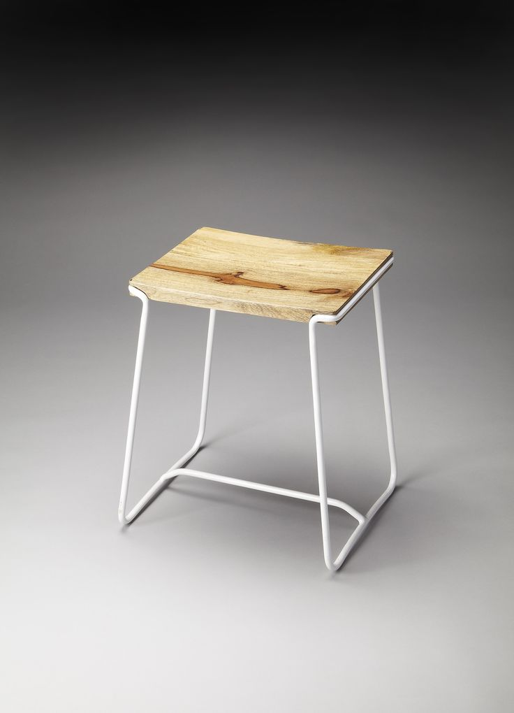 BUTLER PARRISH WOOD & METAL STOOL by Butler Specialty Company - This contemporary stool will stylishly enhance your space - Featuring a White Finish, it is hand crafted from iron, mango wood Features:
