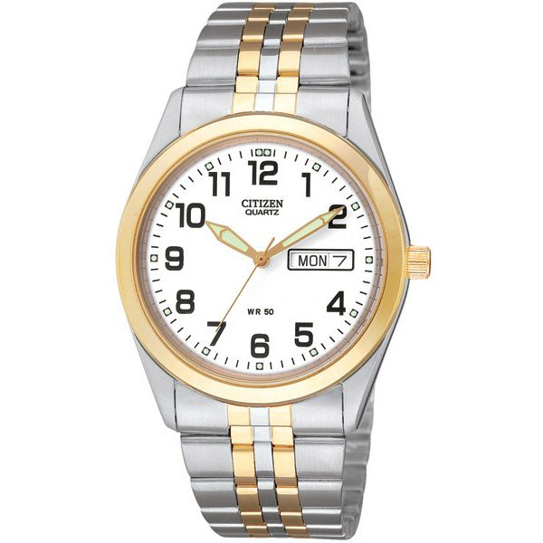 WATCH SST T/T WHITE FACE LARGE NUMBERS DAY DATE WR50M 35MM - Jons Family Jewellers