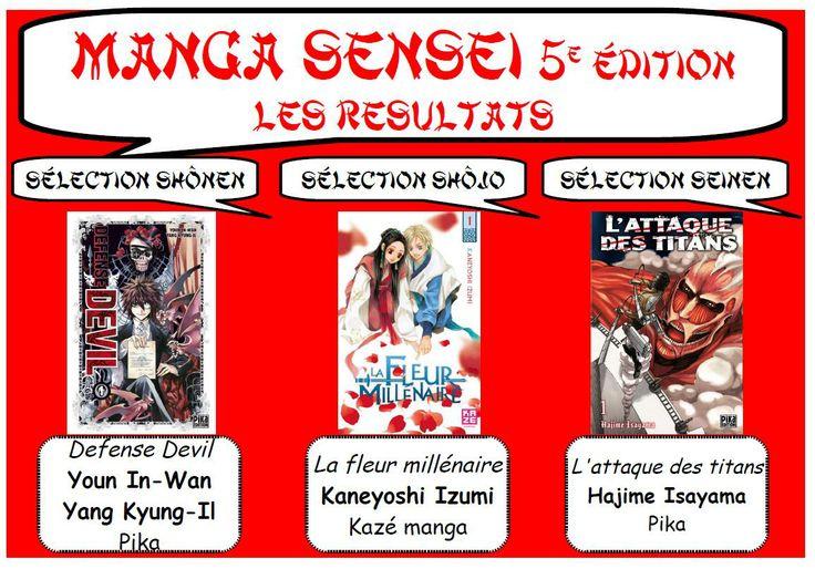 Et les 3 gagnants de cette 5° édition du prix manga sensei sont Defense Devil de la sélection shonen, la Fleur Millénaire de la sélection shojo et L'attaque des Titants de la sélection   seinen !