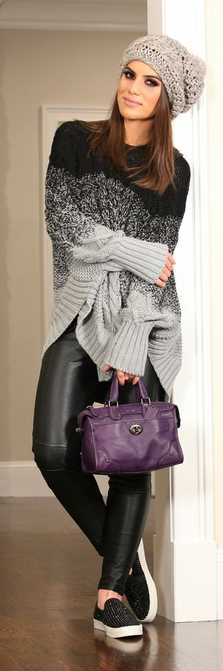 Grey To Black Outfits - Loose Cable Knit Sweater with Black Leather Skinnies and Purple Leather Handbag / Camila Coelho