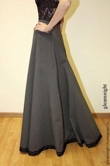 Купить Историческая юбка-годе Реконструкция - тёмно-серый, однотонный, историческая юбка, длинная юбка