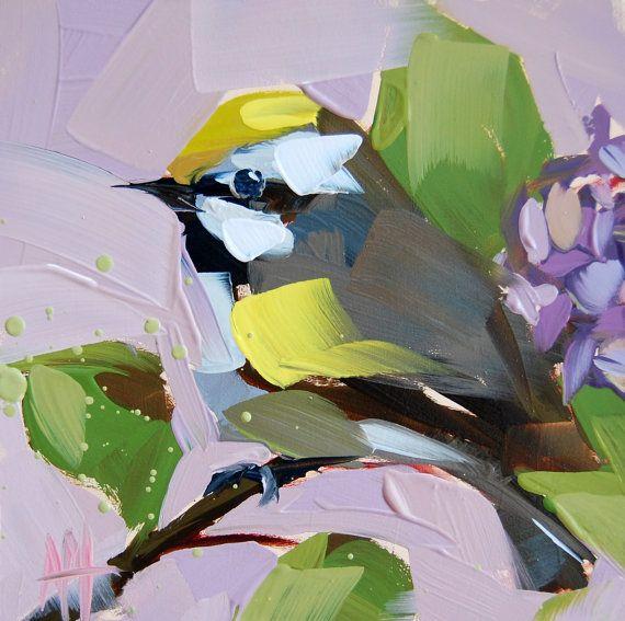 Golden Winged Warbler no. 2 original bird oil painting by Angela Moulton prattcreekart