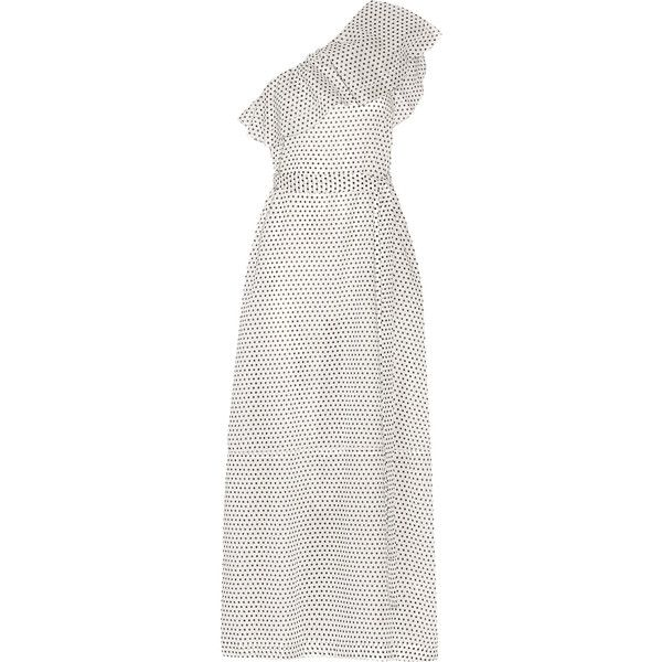 Lisa Marie Fernandez Arden one-shoulder polka-dot cotton-voile maxi... ($1,050) ❤ liked on Polyvore featuring dresses, ruffle dress, maxi dresses, white dress, white beach dresses and white ruffle dress