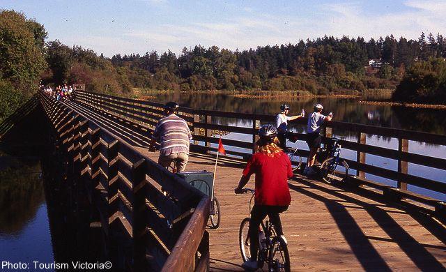 Biking the Gallopping Goose trail in Victoria.  #Victoria, #Vancouver #family #travel #outdoors #biking @Tourism Victoria