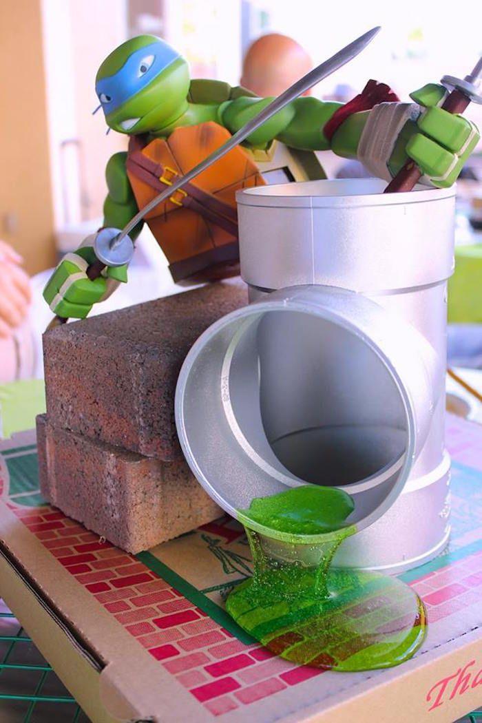 Leonardo TMNT Centerpiece from a Teenage Mutant Ninja Turtles Party via Kara's Party Ideas | KarasPartyIdeas.com (22)