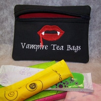 #Vampire Tea Bags Tampon & Maxi Pad Bag Zippered Fabric Purse Pouch / Tampon Keeper. Is that an Ewwww I hear?