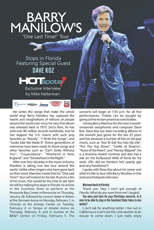 """barry manilow tour 2016   Barry Manilow's """"One Last Time!"""" Tour Stops in Florida   Hotspots ..."""