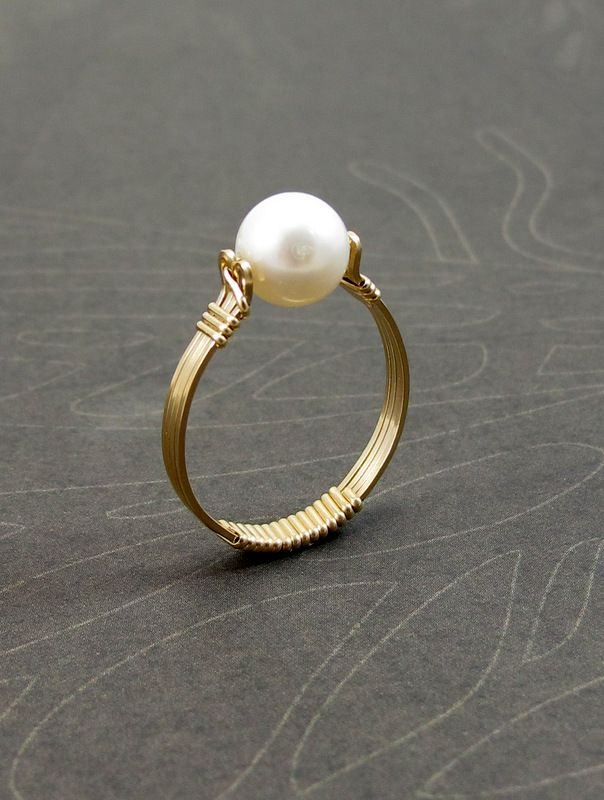 Pearl Ring, Gold Filled Wire Wrapped Ring