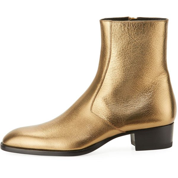 Saint Laurent Wyatt 40mm Men's Metallic Leather Ankle Boot, Gold ❤ liked on Polyvore featuring men's fashion, men's shoes, men's boots, mens ankle boots, mens boots, yves saint laurent mens boots, mens leather ankle boots and ankle boots mens shoes
