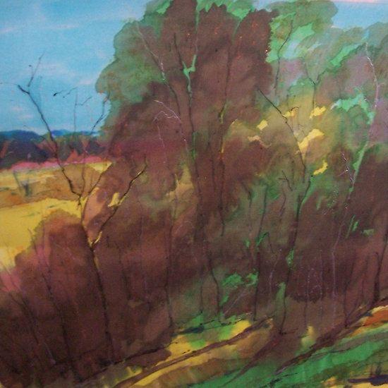 Merging colours on silk - trees - Kilmore Vic Australia