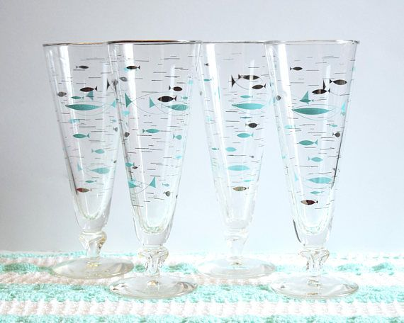 4 Libbey Fish Pilsner Glasses Turquoise Silver Beer Glasses