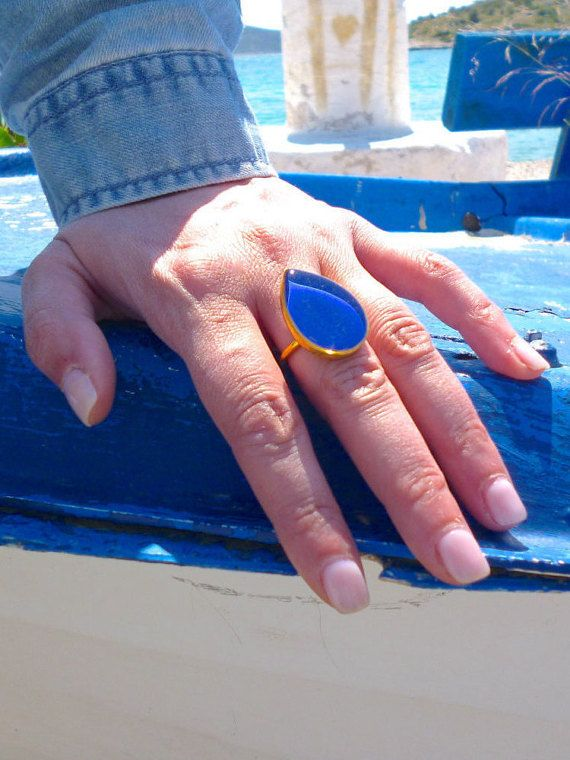 Teardrop Ring, Adjustable Ring, Big Teardrop Ring, Fashion Ring, Blue Ring, Grey…