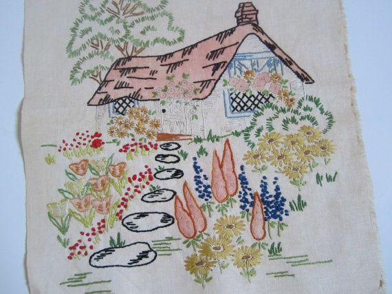 Vintage Cottage Embroidered Sampler.