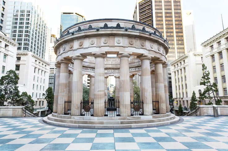 Shrine of Remembrance monument and Eternal Flame in Anzac Square Brisbane City