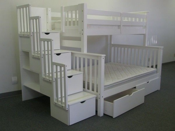 Features:  -2 Under bed drawers.  -Child-safe.  -Solid Brazilian Pine - no particle board.  -Built-in stairway instead of ladder for easy access to the top bunk - 4 drawers built into Stairway.  Frame