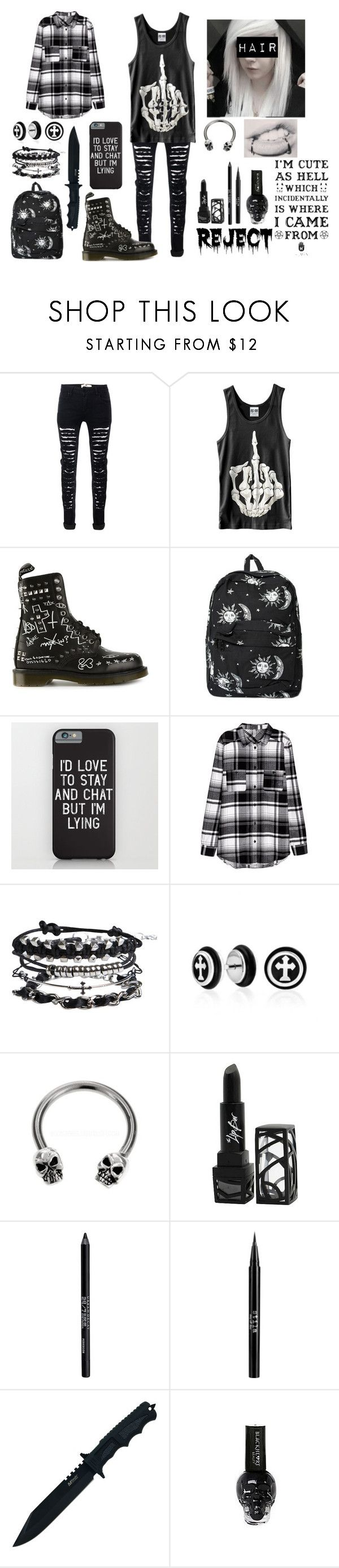 """""""Black and White"""" by blackisforever ❤ liked on Polyvore featuring Dr. Martens, Motel, Pieces, Bling Jewelry, The Lip Bar, Urban Decay, Stila, Handle and Hot Topic"""