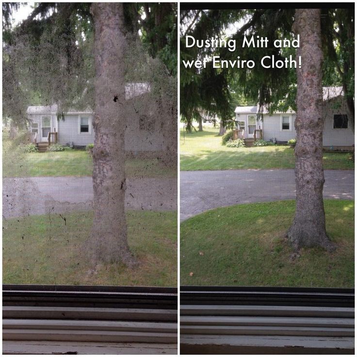 Norwex Window Cleaning: Before And After Cleaning Screens Using Only Water And The