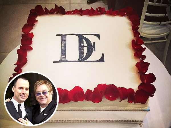 Elton John and David Furnish's Monogrammed Wedding Cake - #wedding cake #Elton John #my digital wedding