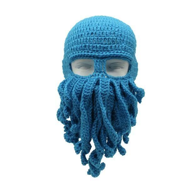 Handmade Knitted Octopus Mask Various Colors Sky Blue In 2021 Crochet Beard Beanie Octopus Hat Crochet Beard